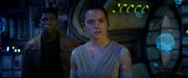 Rey and Finn on the Millennium Falcon